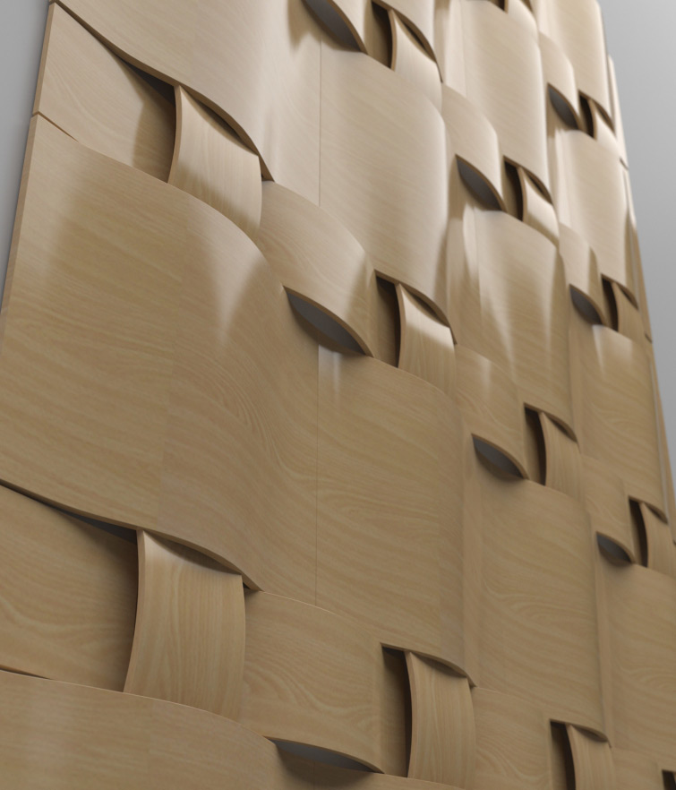 Wall's wooden pannels visualisation - first version close up view.