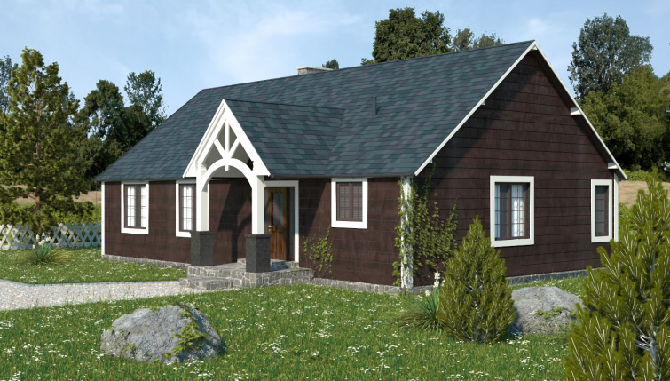 Architectural visualization of a small Canadian cottage.