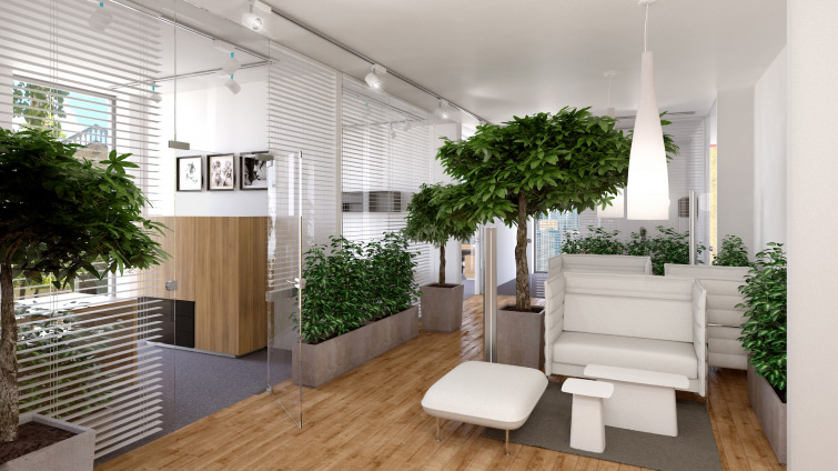 Interior visualization of the Managers's offices. We put BALMA office runiture, VITRA chairs and VIBIA lights into this visualization.