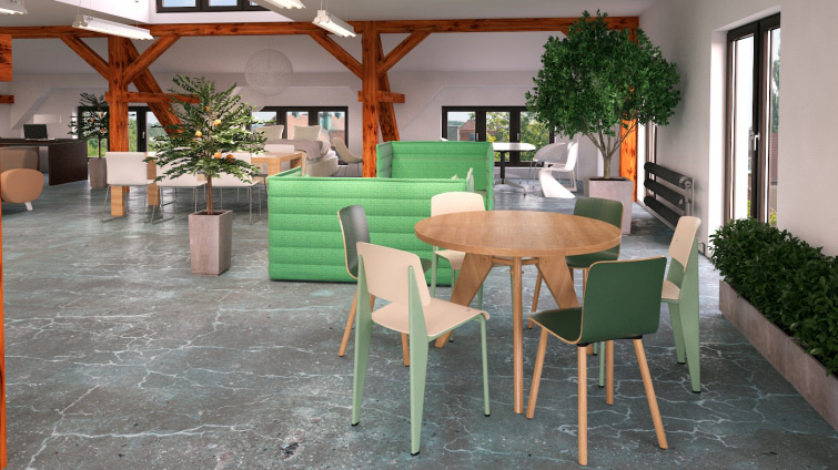 Interior design and visualization of office furniture showroom for T3 Atelier. Furniture put into visualizations: VITRA Alcove, VITRA Hal chair, Standard, VITRA Guéridon table.