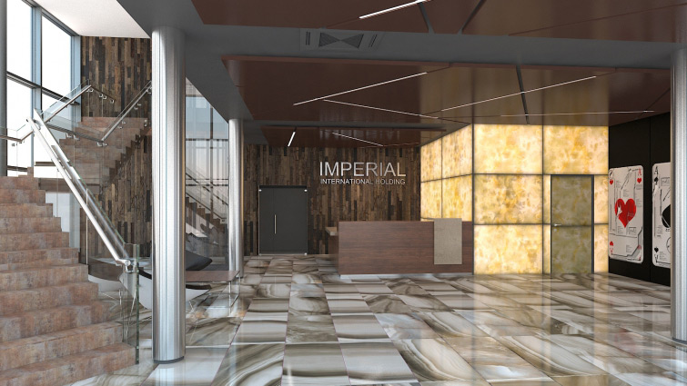 Commercial interior visualisation and interior design of main hall with reception.