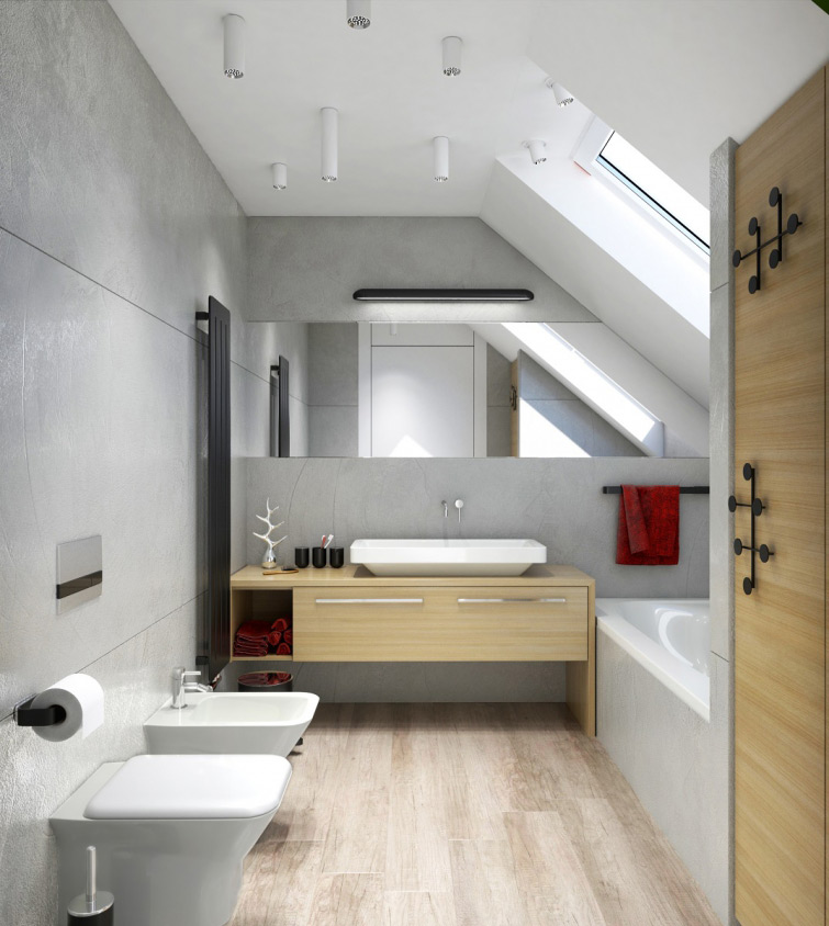 Interior visualization of bathroom located in the attic of single-family house. This bathroom is designed in modern style with light wall finishing stylized with concret. There are also wooden furniture and other accessories putted into visualizations which are the latest rage so it can get even more modern look.