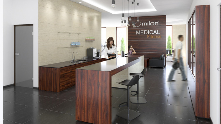 Fitness Center main hall and reception - commercial interiors visualisation