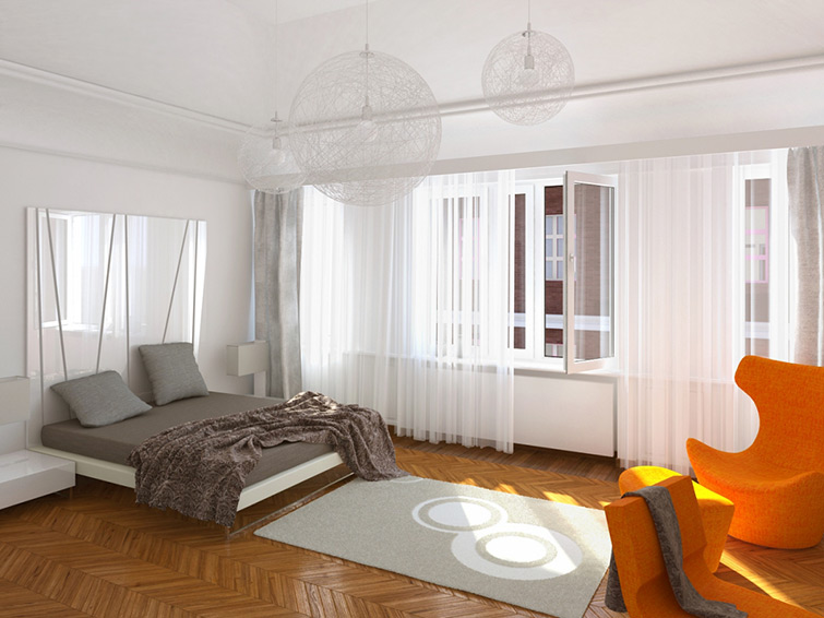 Interior visualization of bedroom made based on Maleccy Architects interior design.
