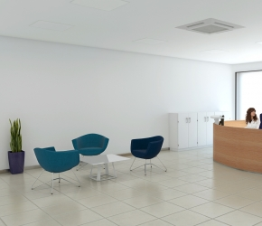 Interior visualization of reception. This is the first option with reception desk made of wood panels in oak colour.