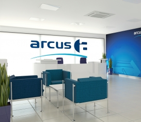 Interior visualization of reception. This is the first option with reception desk made of HPL laminate in white colour.