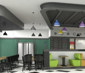 Interior visualization of Bistro de la Gare cafeteria.