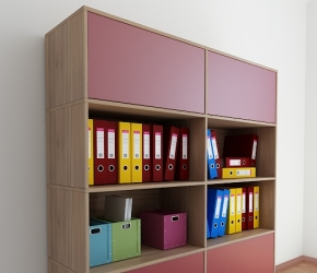 Interior Visualization of cabinets from PLURIS Office Furniture System.