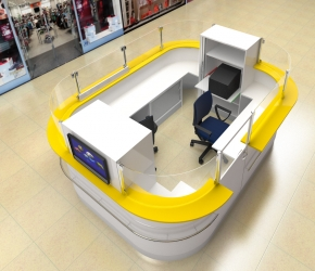 Design and visualization of Lotto Point stand in Silesia City Center Shopping Mall.