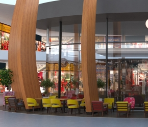 3d commercial interior visualisation of Costa Coffee branch in Bonarka City Center in Cracow