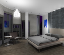 Interior visualization of bedroom placed in the luxury apartment building in Cracow. This visualization shows one of two interior projects designed by our team. This is a night scene of previous visualization.