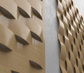 Wall's wooden pannels visualisation - third version close up view.