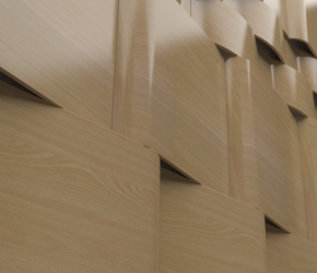 Wall's wooden pannels visualisation - fifth version close up view.