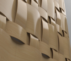 Wall's wooden pannels visualisation - sisxth version close up view.