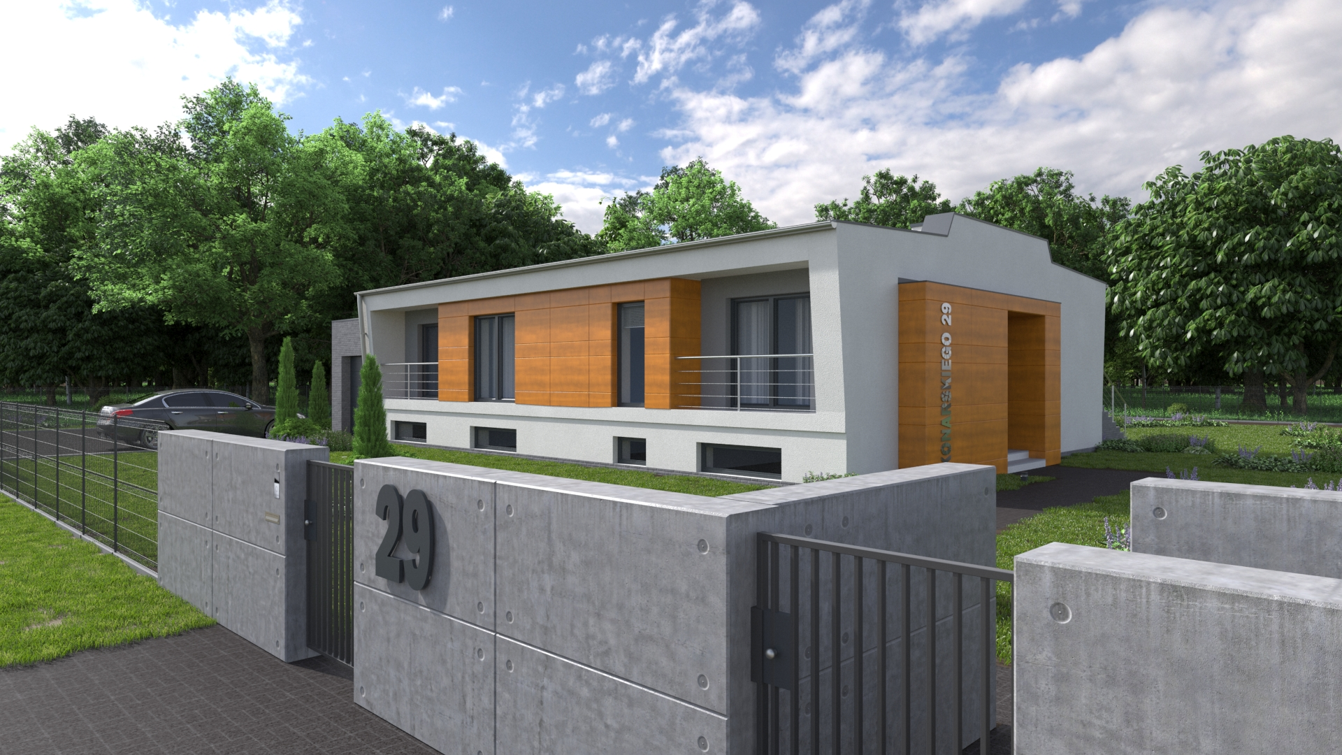 Architectural visualization of the east facade of a single-family house.  This rendering shows the front facade visible from the street side.