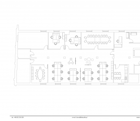 Architectural drawing and furniture arrangement of the main floor.
