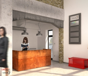 Interior Design and 3d commercial Interior visualisations of a main hall and reception.