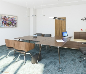 Interior Visualization and Interior Design of the AGATA Furniture Inc. Manager's Office. We put FRNIKO Astero office desk and cabinets, SITAG Woodi and Sitag One De Lux chairs and FAGERHULT Gaudi lamps into this interior project.