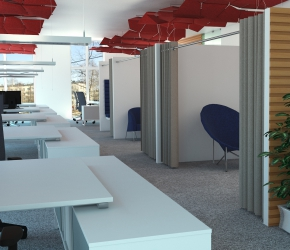 Interior visualization of the office. This is the first of two options of interior design named