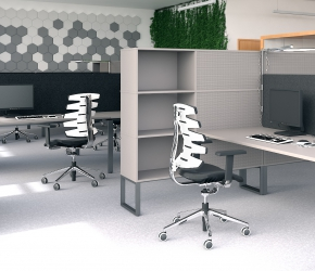 Interior visualization of the office. This is the second of two options of interior design named