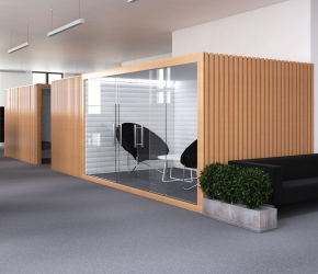 Interior visualization of a meeting room. This is the option of interior design named