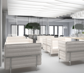Interior visualization of lobby. This room is divided into two parts and is also using as a boardroom. There are VITRA sofas used in this interior design project.