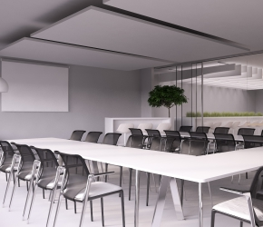Interior visualization of a boardroom. This room is divided into two parts and is also using as lobby. There are VITRA chairs and BALMA office furniture used in this interior design project.