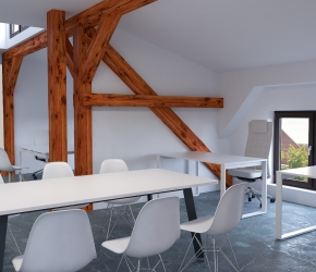 Interior visualization of office furniture showroom made for T3 Atelier. In this visualization we can see board table and chairs and also office table and chair.