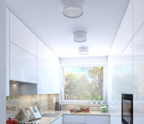 Interior visualization of kitchen.