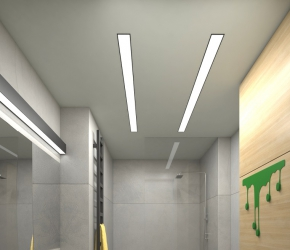 Interior visualization of toilet with shower.