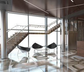 Commercial interior visualisation and interior design of main hall and reception.