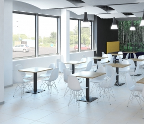Interior visualization and interior design of cantine with Vitra Eames Plastic chairs.
