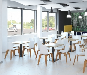Commercial interior visualisation and interior design of cantine with Sitag PIGI chairs.