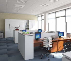 Interior visualization and interior design of office room.
