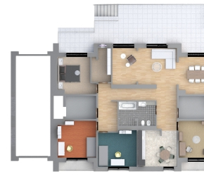2d floor plan of single-family house - entry level.