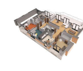 3d floor plan of single family-family huse - entry level.
