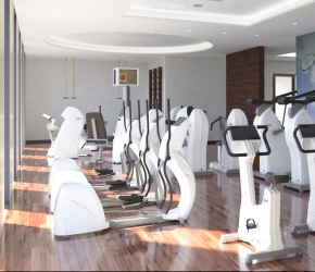 Gym - commercial interiors visualisation