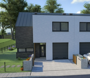twin family house architectural visualization