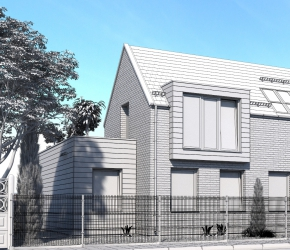 single family house architectural visualization bw version