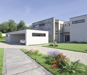 Exterior visualisations of a single-family house