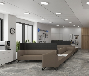 3d commercial interior visalisations - reception with waiting area.