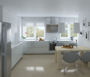 Interior Visualization of kitchen made based on Maleccy Architects interior design.
