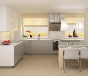 Interior visualization of kitchen made based on Małeccy Architects interior design. This visualization shows an evening scene.