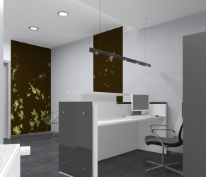 Interior Visualization of a Main Hall and Reception. This is another visualization of the first interior design option.